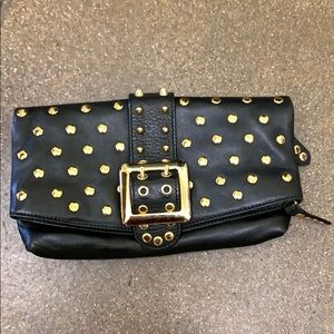 BESSO Genuine leather gold studded  clutch